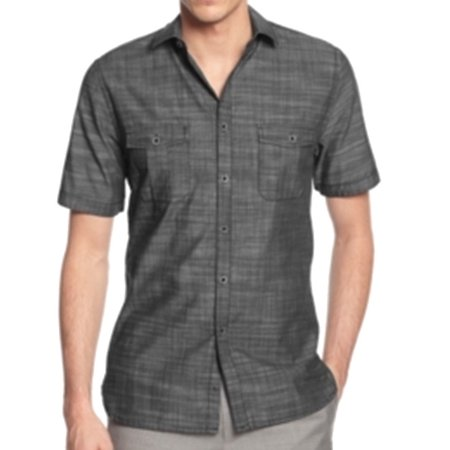 alfani new gray mens size 3xlt texture button down double