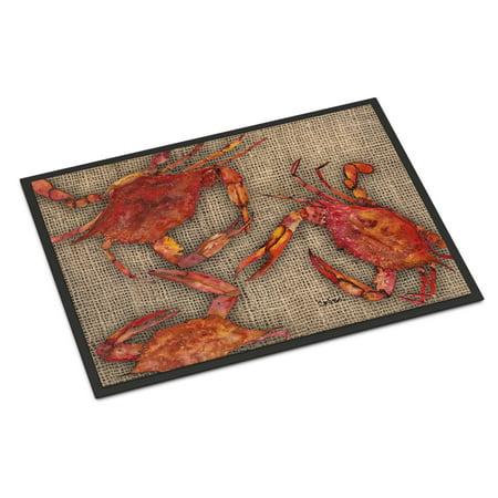Cooked Crabs on Faux Burlap Door Mat