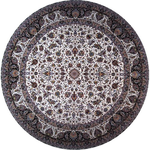 Astoria Grand Monday Hand Look Persian Wool Ivory/Brown/Blue Area Rug