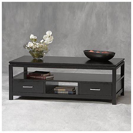 Linon Sutton Black Coffee Table, 2 Drawers and 1 Shelf ...