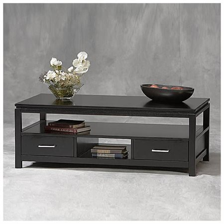 Linon Sutton Black Coffee Table 2 Drawers And 1 Shelf