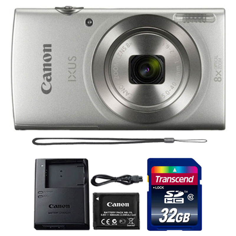 Canon Ixus 185 / Elph 180 20MP Digital Camera 8x Optical Zoom Silver with 32GB Memory Card