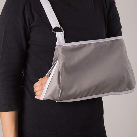 Deep Pocket Arm Sling - DMI Adjustable Pocket Arm Sling with Wrist Extender, Adult, Gray