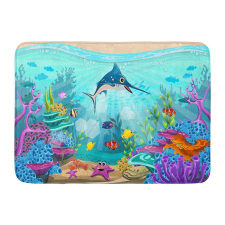 GODPOK Aquarium Blue Animal Fish and Coral Reefs Under The Sea Diversity of Beautiful Habitats Red Aqua Aquatic Rug Doormat Bath Mat 23.6x15.7 inch - Fish Under The Sea