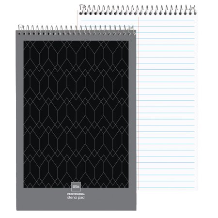 """Office Depot® Brand Professional Steno Books, 6"""" x 9"""", Gregg Ruled, 70 Sheets, 140 Pages, Black, Pack Of 12"""
