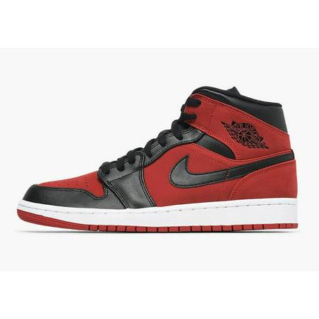 Air Jordan - Mens Air Jordan 1 Mid Bred Banned Gym Red Black White 554724- 610 - Walmart.com 55c7664246bd