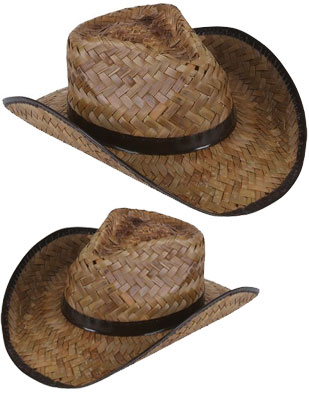 New Mens Womens Stained Brown Woven Straw Cowboy Hat