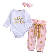 Newborn Infant Baby Girls Long Sleeve HELLO WORLD Romper Tops +Long Pants Outfit Clothes Set