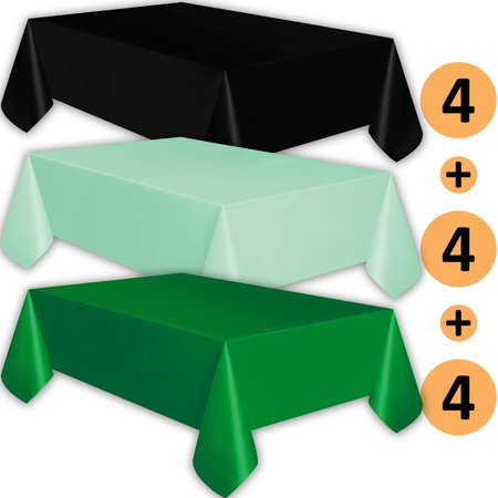 12 Plastic Tablecloths - Black, Mint, Emerald Green - Premium Thickness Disposable Table Cover, 108 x 54 Inch, 4 Each - Mint Green Plastic Tablecloth