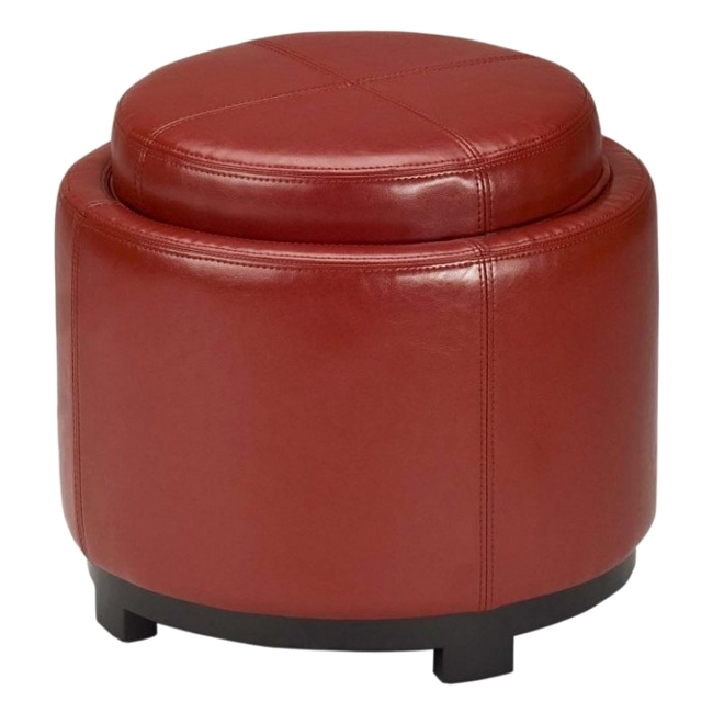 Safavieh Chelsea Round Tray Leather Ottoman in Red