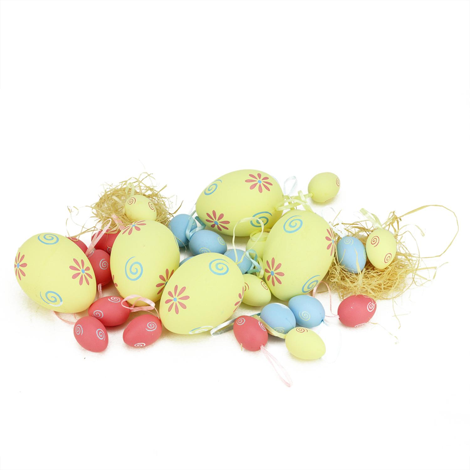 Set of 29 Blue Yellow and Pink Painted Floral Spring Easter Egg Ornaments 3.25""