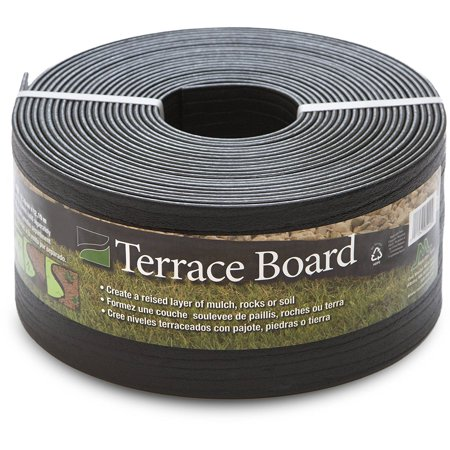 Black Terrace Board Garden Landscape Edging Coil, 5-Inch By 40 Foot with 10-Piece Yard Landscape Stakes, Creates a raised layer of mulch, rocks or soil By Master Mark Plastics ()
