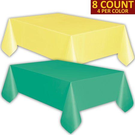 8 Plastic Tablecloths - Lemon yellow and Teal - Premium Thickness Disposable Table Cover, 108 x 54 Inch, 4 Each Color](Disposable Table Cloth)
