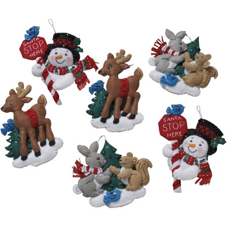 "Bucilla Felt Ornaments Applique Kit 5""X5"" Set Of 6-Santa ..."