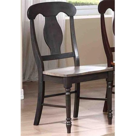 - Iconic Furniture Napoleon Back Dining Chair Wood Seat, Grey Stone & Black Stone - Pack Of 2