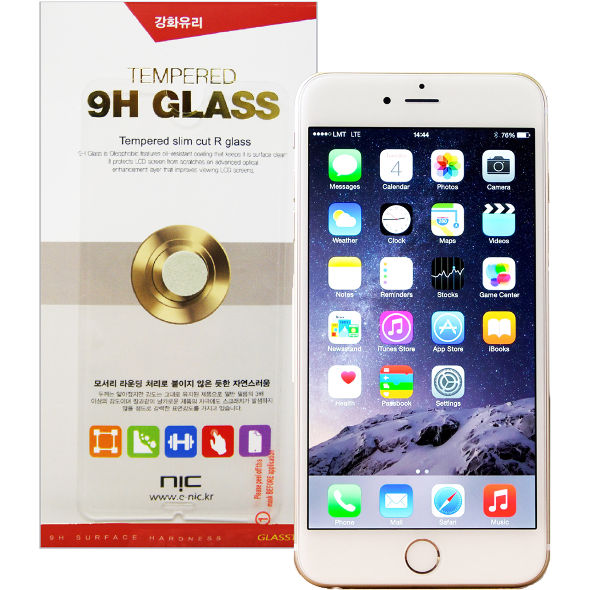 NIC Glasstic 9H Tempered Glass Screen Protector for Apple iPhone 6 Plus