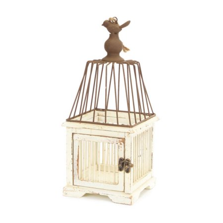 14 tea garden elegant oiseau distressed rustic wooden for Cage d oiseau decorative