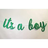 All About Details It's A Boy Cursive Banner, 1set, Baby Shower Party Decoration, Baby Shower Photo Backdrop (Green)
