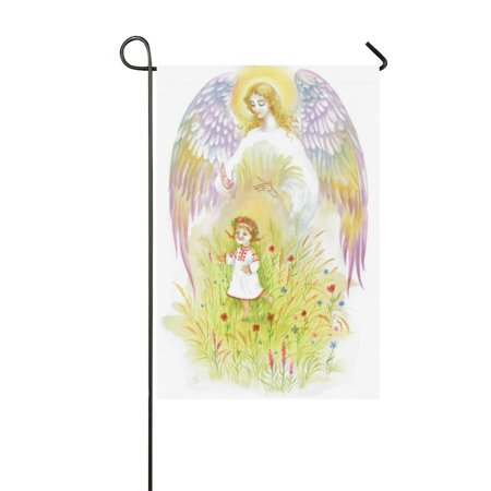 MYPOP Beautiful Angel with Wings Flying over Baby Girl Garden Flag House Banner 12 x 18 inch