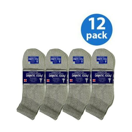 Gray Mens Socks (USBingoshop 12 Pairs Mens Gray Physicians Approved Cotton Ankle Diabetic Socks)