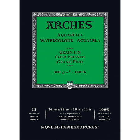 "Arches Watercolor Cold Pressed Paper Pad 10""X14""-12 Sheets"
