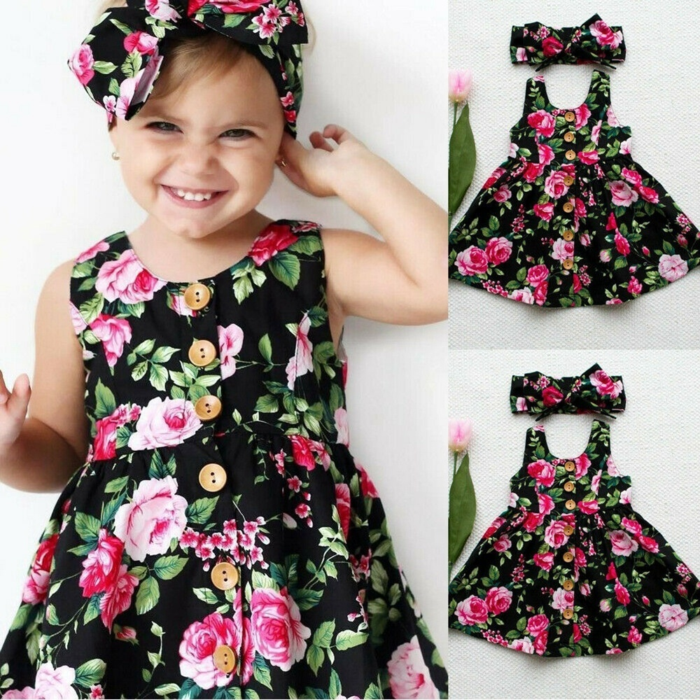 Fashion Toddler Infant Kids Baby Girls Summer Floral Dress Princess Party  Dresses 6-6 Years