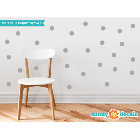 Polka Dot Fabric Wall Decals - Set Of 48 Two Inch Dots - Reusable, Repositionable - 21 Color Options-Grey/