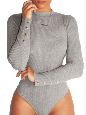 Party Bodysuit for Womens Buttons Sleeve Romper One Piece Bodycon Causal Jumpsuit Turtleneck Tops Blouse Slim fit Shirt
