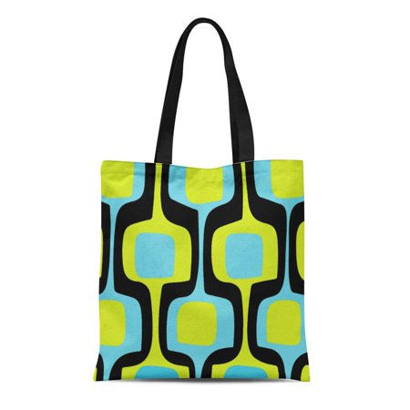 LADDKE Canvas Tote Bag Blue Turquoise Mid Century Chartreuse Black Retro Pattern Green Reusable Handbag Shoulder Grocery Shopping (Best Mid Range Handbags)