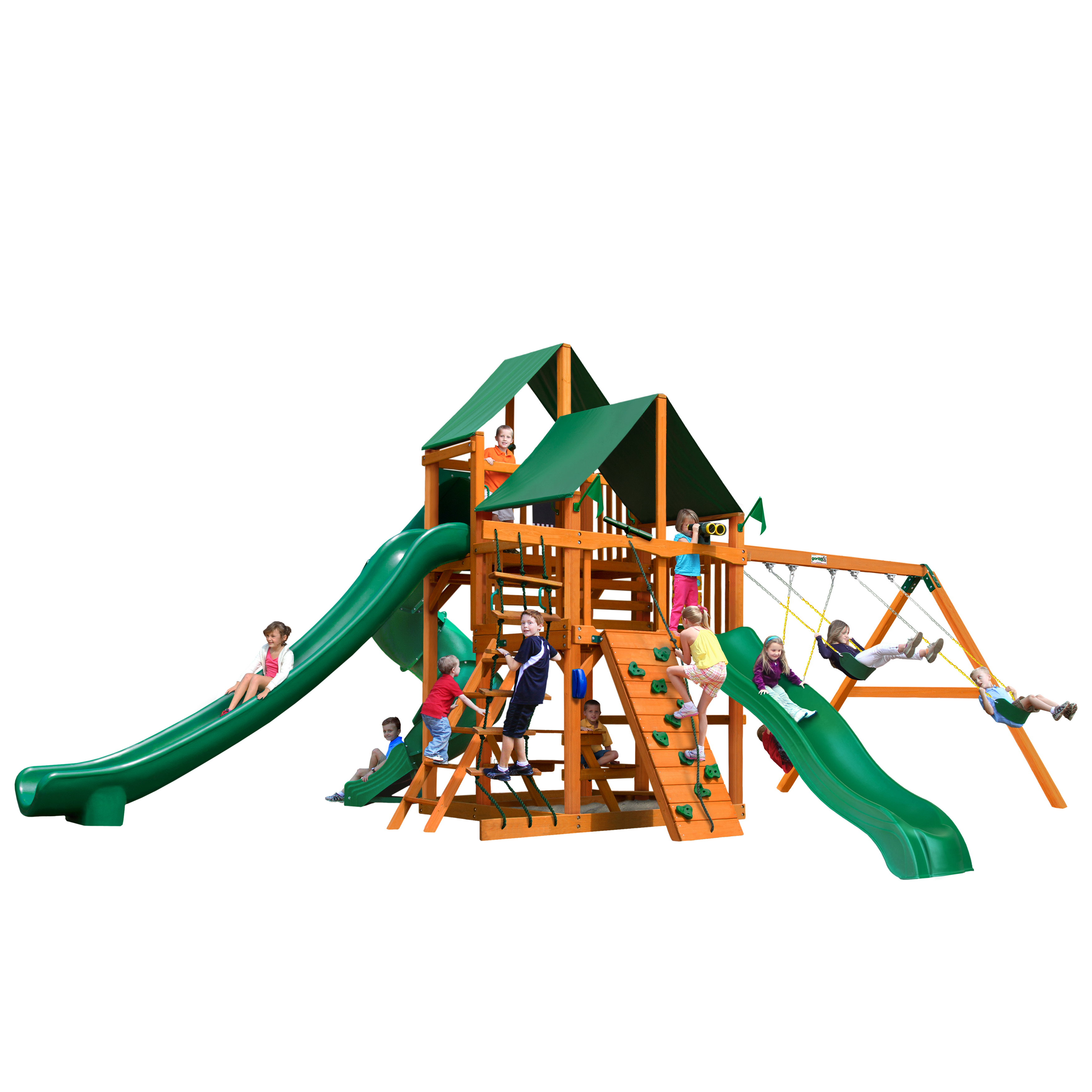 Gorilla Playsets Great Skye II Wooden Swing Set with 2 Sunbrella® Canvas Canopies, 3 Slides, and Rope Ladder