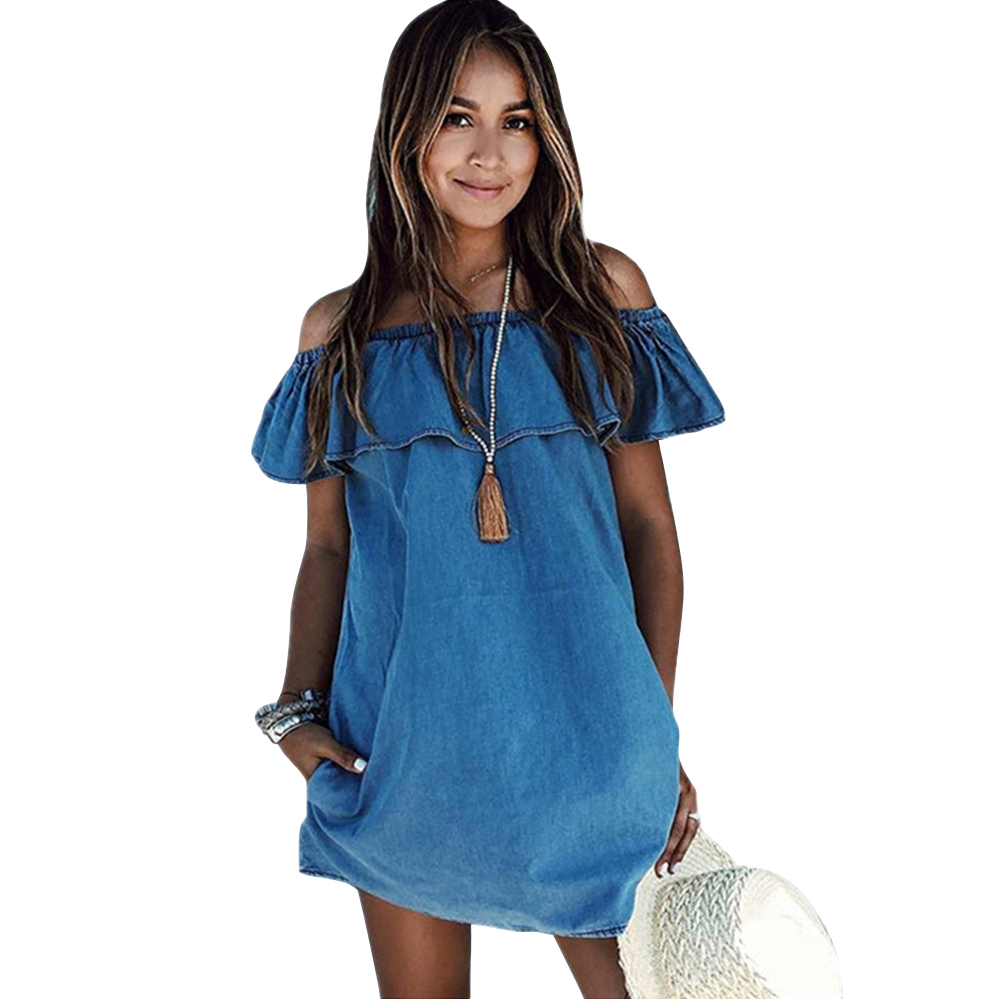 Mupoo Women's Blue Jean Off Shoulder Ruffle Short Sleeve Loose Mini Denim Dress