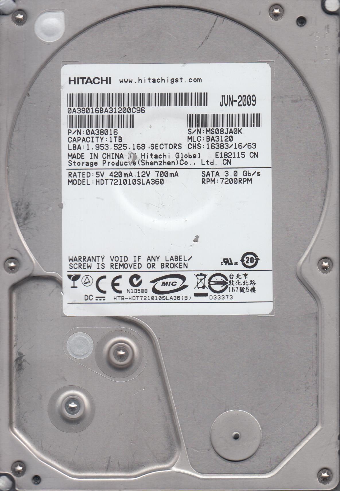 0A29987 BA3129/_ HDT721010SLA360 PN 0A38016 Hitachi 1TB SATA 3.5 PCB