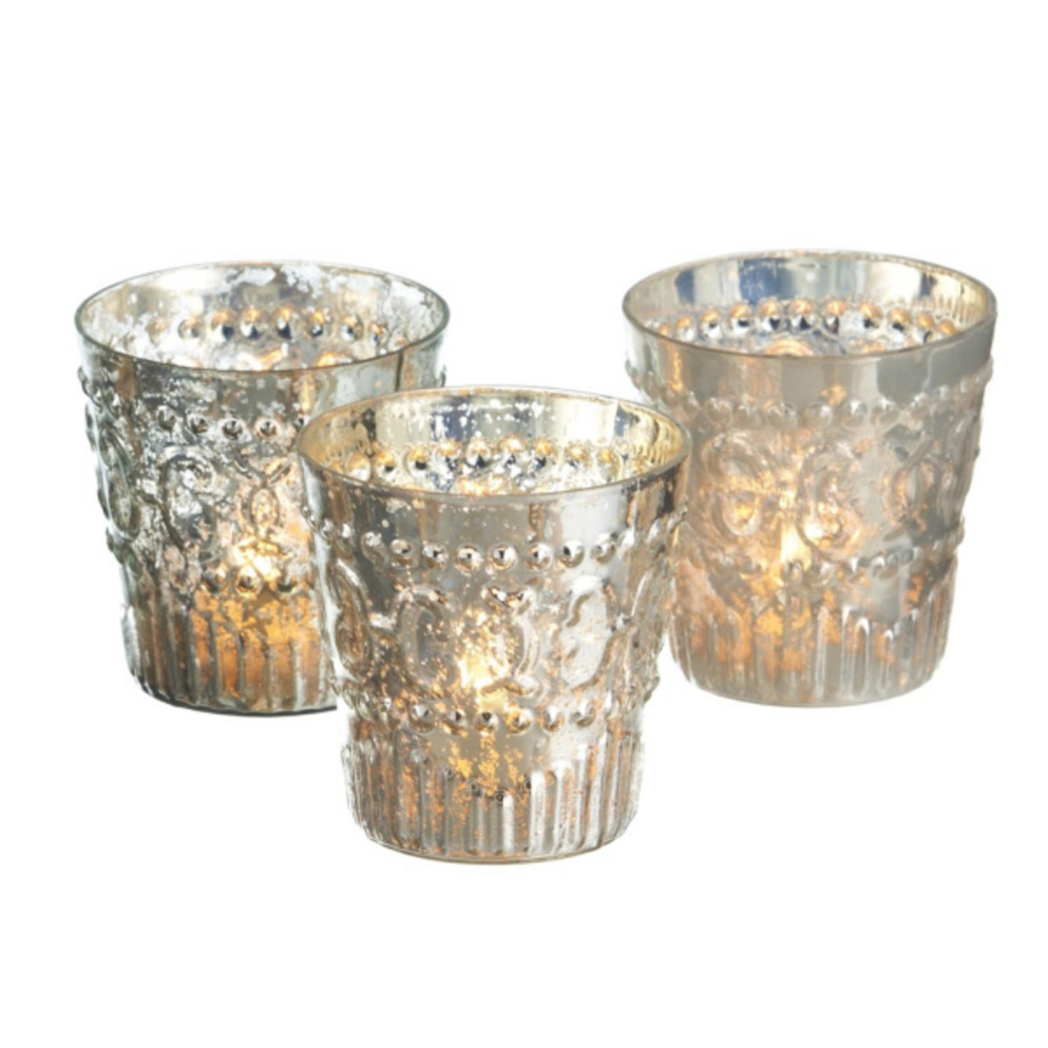 Pack of 6 Embossed Mercury Glass Decorative Tea Light Candle Holders 4""