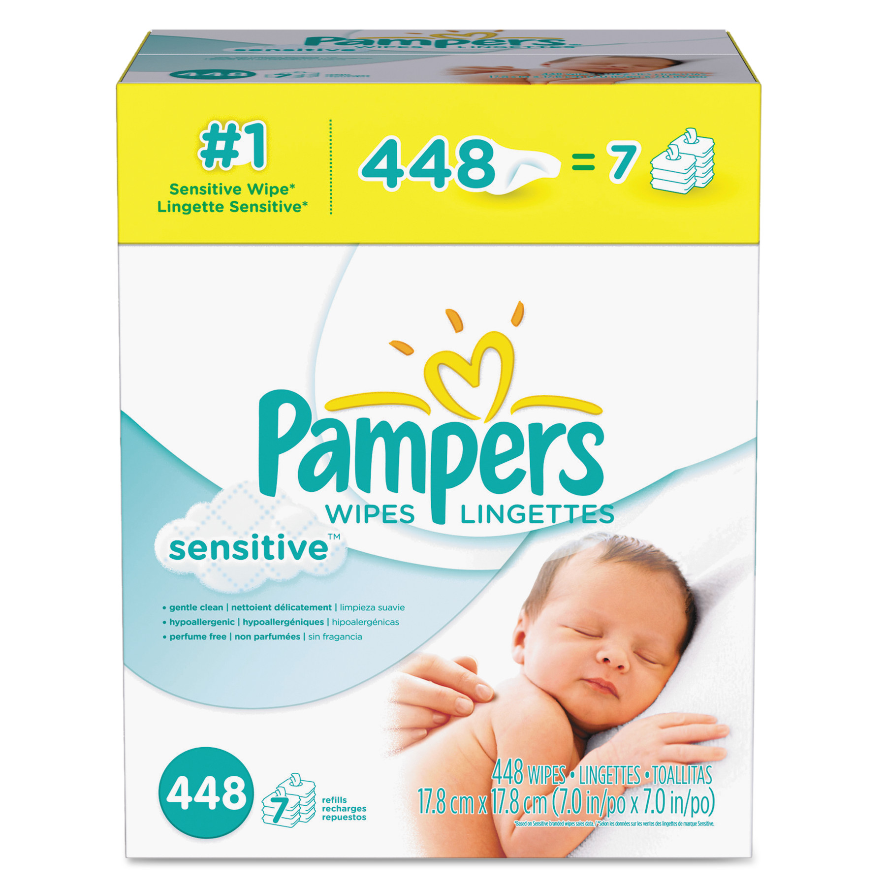 Pampers Sensitive Baby Wipes Refills, Unscented, 7 packs of 48 (448 count)