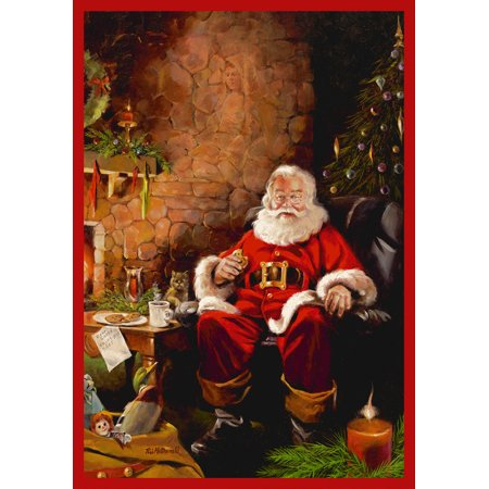 - Milliken Seasonal Inspirations Area Rugs - Novelty 02000 Santa Treats Santa Claus Fireplace Cookies Christmas Rug