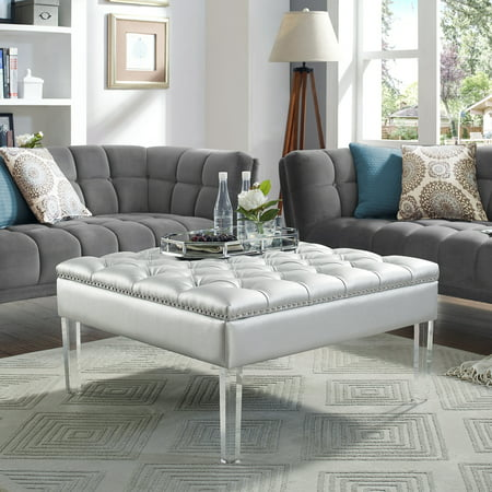 Howard Silver Pu Leather Ottoman Cocktail Coffee Table Square