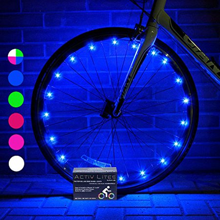 Super Cool Bike Wheel Lights (1 Tire, Blue) Best Christmas Gifts, Stocking Stuffers & Birthday Presents for Boys 3 Year Old + Teens & Men. Top Unique 2017 Ideas for Him, Dad, Brother,