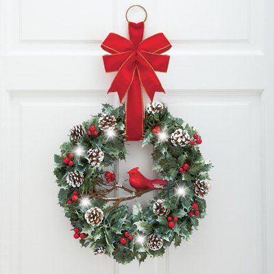 LIGHTED CHRISTMAS CARDINAL DOOR WREATH WITH BOW BATTERY OPERATED ...