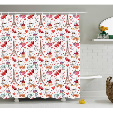 Romantic Shower Curtain Valentines Day Themed Paris Coffee Wine Parfumes Bikes With Heart Backdrop
