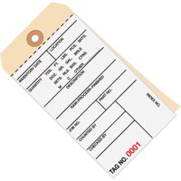 G15011 White / Manila 6.25 Inch x 3.13 Inch - (0000-0499) 10 Point Cardstock Inventory Tags 2 Part Carbonless # 8 CASE OF 500