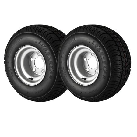 2-Pack - 18.5X8.5-8 Loadstar Trailer Tire LRC on 5 Bolt Silver Wheel