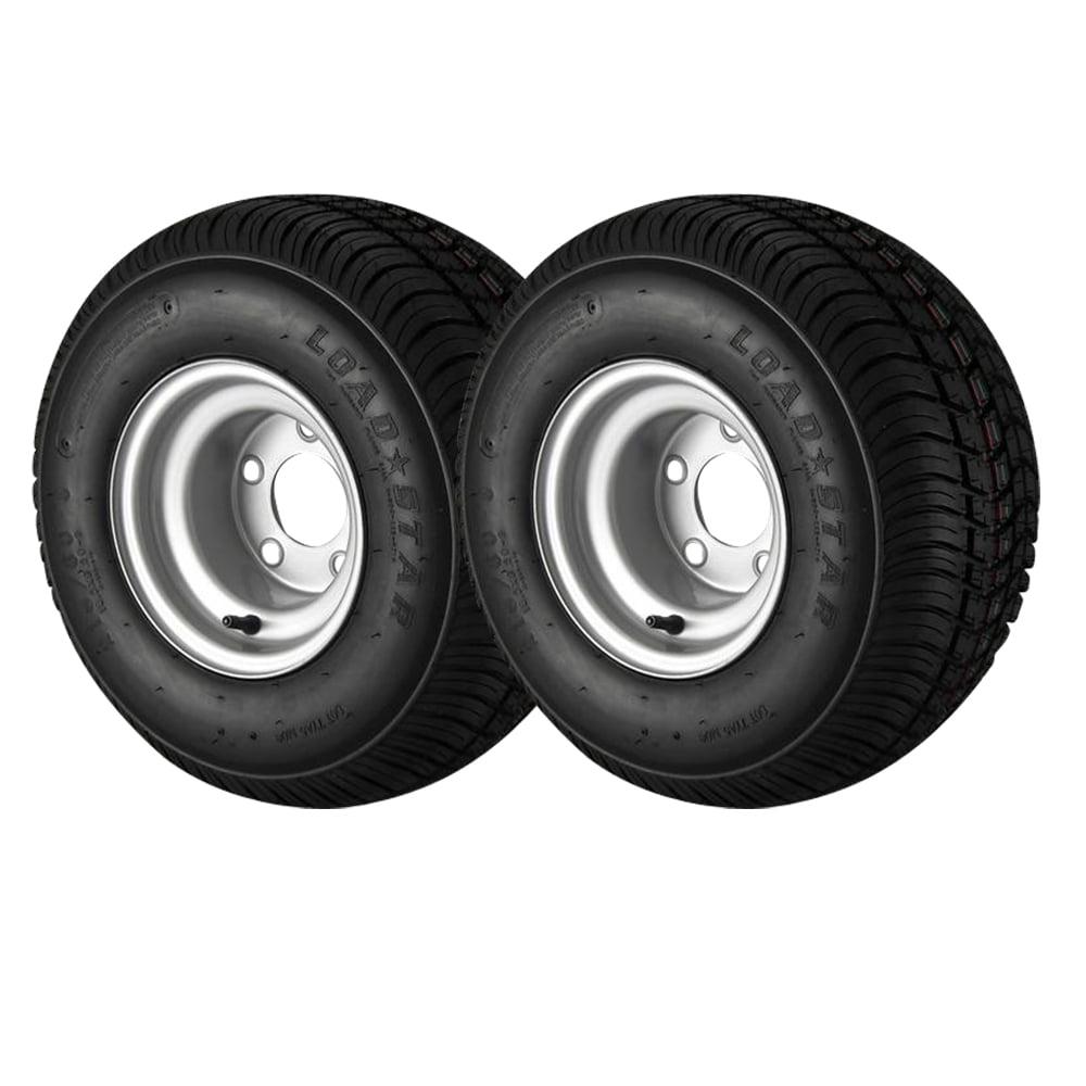 2-Pack - 18.5X8.5-8 Loadstar Trailer Tire LRC on 5 Bolt Silver Wheel