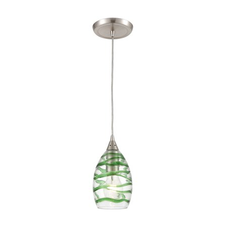 ELK Lighting Vines 1-Light Mini Pendant in Satin Nickel with Clear Glass with Emerald Green Strip