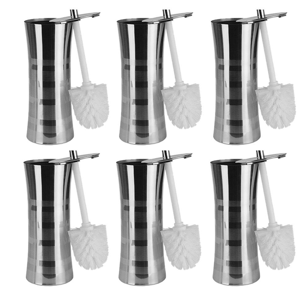 Home Basics Sleek Stainless Steel Striped Toilet Brush Holder Set (6 Pack)