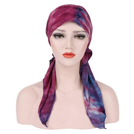 Chemotherapy Cap Turbans For Women Long Hair Head Scarf Headwraps Floral Print Muslim Turban](Hair Scarf)
