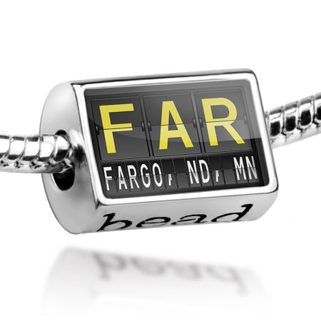 Bead FAR Airport Code for Fargo, ND, MN Charm Fits All European Bracelets (Fargo Nd Time Zone)