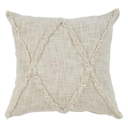 LR Home Carlton Khaki Diamonds Indoor Throw Pillow Natural 20