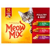 Meow Mix Beef & Poultry Wet Cat Food Variety Pack, 12 ct