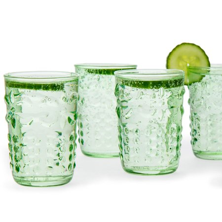 Luna Bazaar Fleur de Lys Juice/Wine Drinking Glass (6 Piece Set, Light Green, Holds Approx 3.5 oz)  - For Home Decor, Parties, and Wedding Decorations Forest Green Glassware