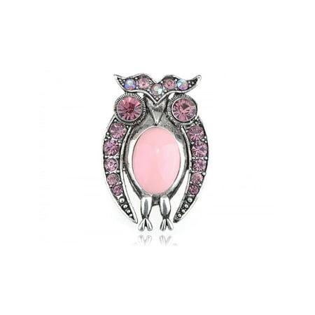 Rose Pink Czech Crystal Rhinestone Staring Owl Bird Costume Jewelry Pin Brooch (Owl Pin)